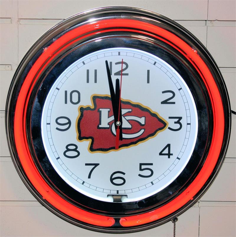 Kansas City Chiefs Neon Wall Clock