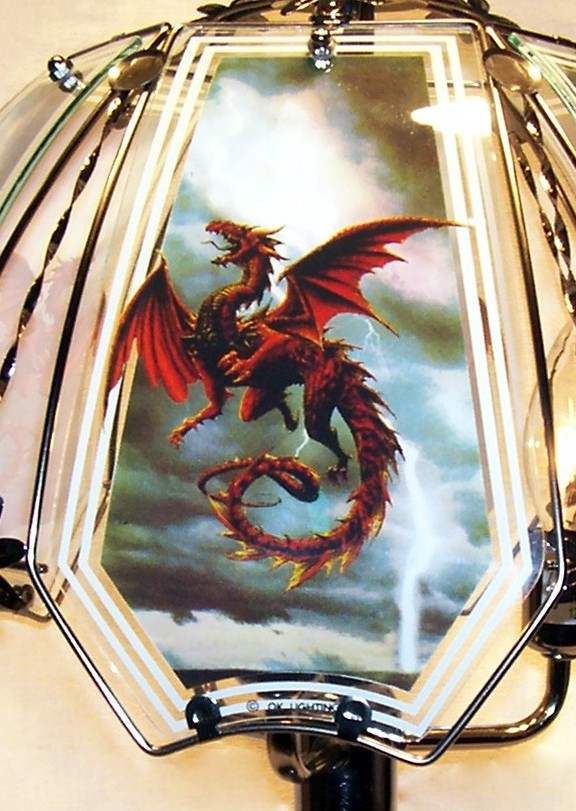 Storm Dragon Red Glass Panels For Touch Lamp