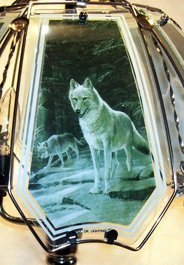 Wolf Green Forest Panels For Touch Lamp