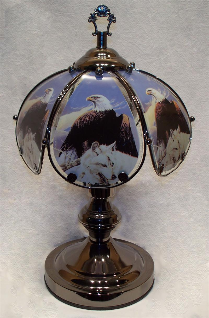eagle and wolf small touch lamp. Black Bedroom Furniture Sets. Home Design Ideas