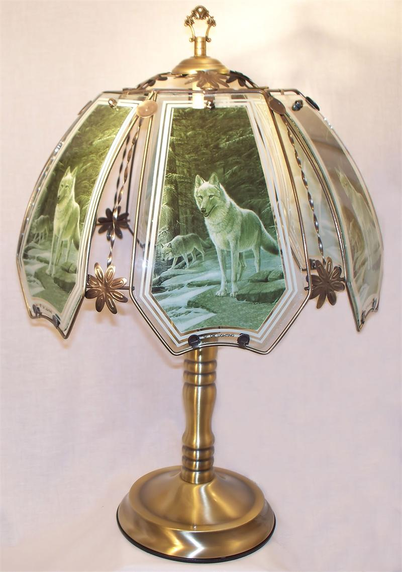 Forest Wolves Antique Brass Touch Lamp