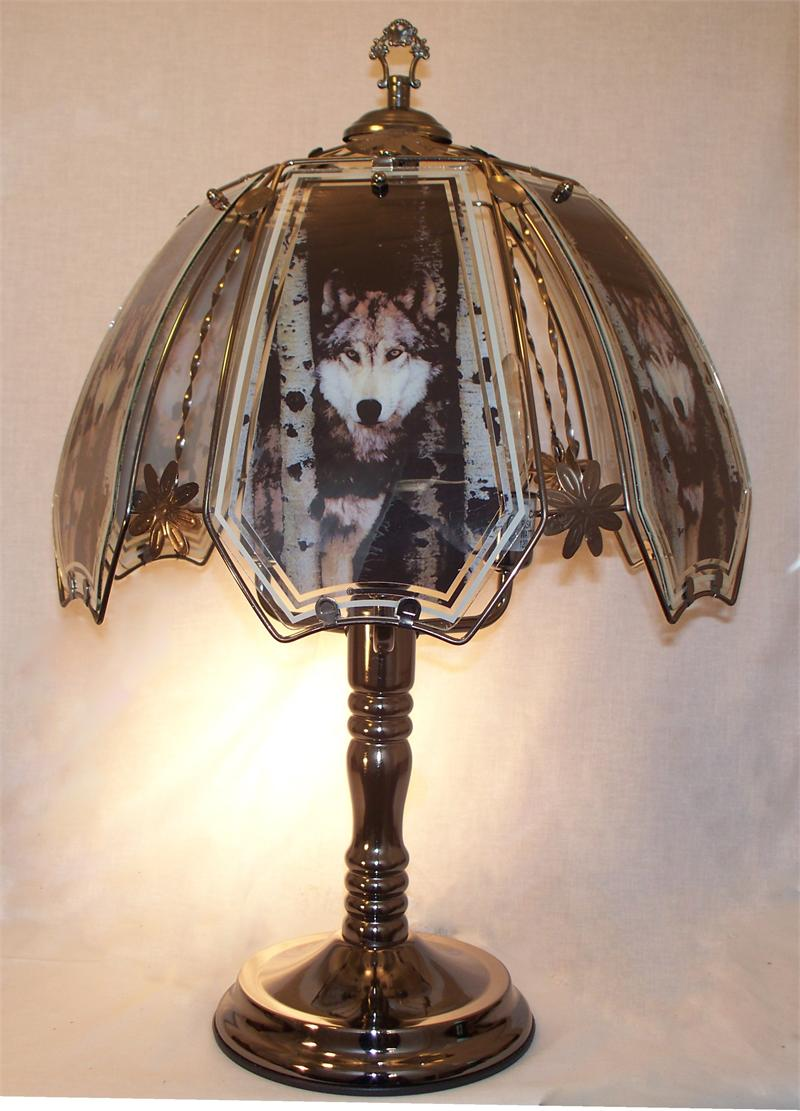 Wolf Touch Lamp With Birch Tree