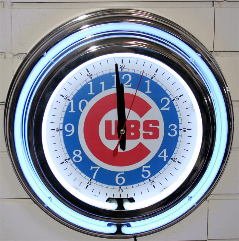 Chicago Cubs Neon Clock