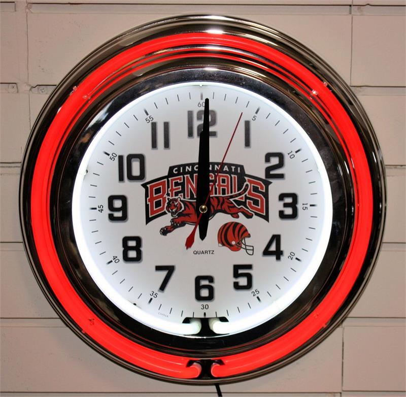 Cincinnati Bengals Red Neon Clock