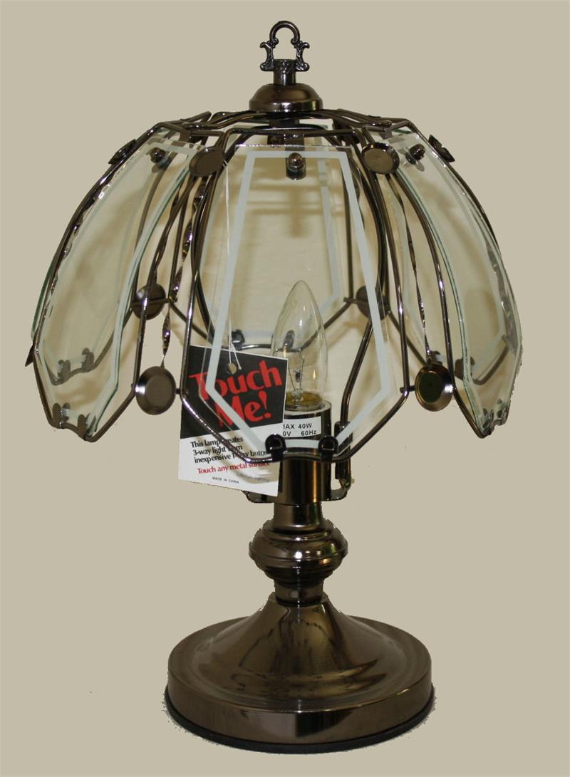 clear glass small touch lamp. Black Bedroom Furniture Sets. Home Design Ideas