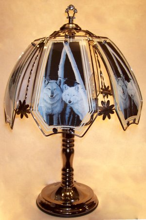 Frosted Light Bulbs >> Two wolves, blue and gray are the main colors in this design.Glass and metal touch lamp with ...