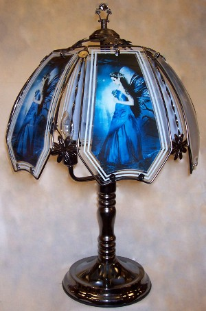 Blue Gl And Fairy With Dress In A Metal Touch Lamp